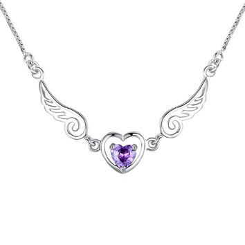High Quality Hot Sale Silver color jewelry love angel wings necklace dream love heart crystal necklace  for women Drop Shipping