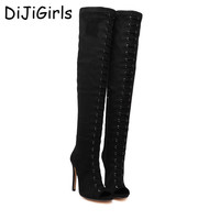 Women boots High Heels Over the Knee Boots Fashion prom shoes ladies thigh high Boots black women pumps peep toe long boots D327
