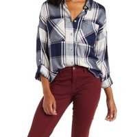 Ivory Combo Button-Up Plaid Top with Pockets by Charlotte Russe