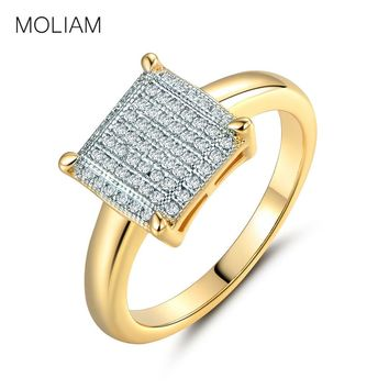 MOLIAM Fashion Wedding Rings for Women Gold-Color Crystal Cubic Zirconia Square Shape Ring Jewelry MLR229