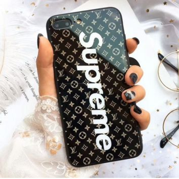 LV X Supreme 2018 Hot ! Trending Stylish iPhone X iPhone 8 plus - Stylish Lovely On Sale Hot Deal Matte Couple Phone Case For iphone 6 6s 6plus 7s plus