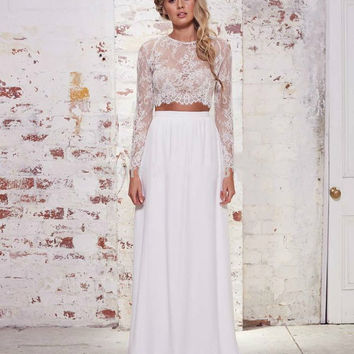 White Vintage Prom Dress,Lace Two Piece Evening Dresses,Long Sleeves Wedding Dress