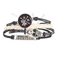 Bring Me The Horizon Skull Braid Bracelet Set