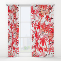 red orange maple leaves watercolor painting 2 Window Curtains by Color And Color