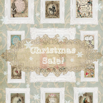 ALICE IN WONDERLAND Christmas Sale! Get 10 Alice Quote Prints for Only 100 dollars! Shabby Chic Alice in Wonderland Prints. Christmas Gift