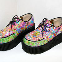 Lisa Frank Smiley Face Unicorn Glitter Mega Platform Wedge Creepers / Custom Size