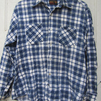 80s Plaid Flannel Shirt by Montgomery Ward, Men's M-L // Vintage Blue and White Lodge Shirt // Plaid Outdoor Shirt