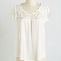 Mid-length Short Sleeves Lacy for You Top by ModCloth