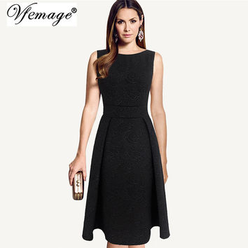 Vfemage Womens Elegant Vintage Floral Jacquard fabric Tunic Slim Modest Casual Work Party Evening A-Line Skater Dress 3109