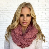 Cozy Knit Infinity Scarf in Mauve