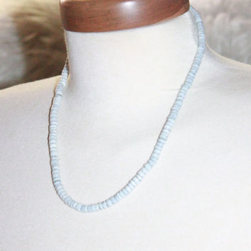 Vintage Heishi Tribal Shell Necklace Grey White