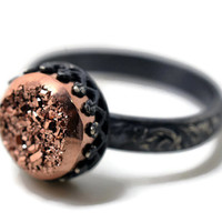 Rose Gold Druzy Ring, Oxidized Silver Ring, Druzy Agate Engagement Ring, Gemstone Wedding Ring