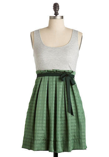 Grey and Green Pleated Dress (Small) by Gently Worn Wonders
