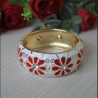 Chinese Traditional Style Red Flower Bracelet White, Buy Chinese Traditional Style Red Flower Bracelet White with cheapest price|wholesale-dress.net