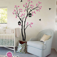 "Baby Nursery Wall Decals - Tree Wall Decal - Birds Decal - Large: approx 82"" x 55"" - KC002"