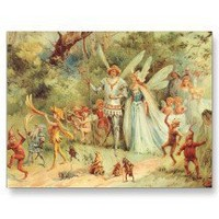 Vintage Thumbelina and Prince Wedding in Forest Postcard