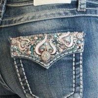 Grace in LA Jeans Bootcut with Mosaic Trim Flap Pocket JB8806