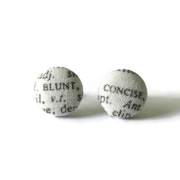 Blunt Concise Synonym Words, Fabric Earrings, Word Earring, Post Earings, Stud Earings, Post Earrings, Stud Earrings, Earring Stud, Jewlery