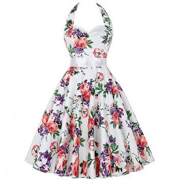 Retro Floral Print Swing Dress