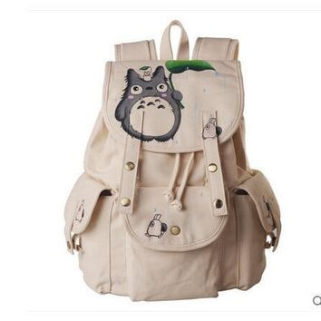 Anime Tonari no Totoro Cosplay 2017 new Korean version of the campus hand painted canvas bag leisure backpack