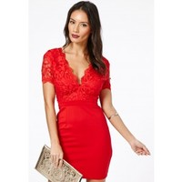 Missguided - Risuka Red V-Neck Lace Mini Dress