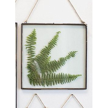 """Decorative Hanging Metal and Glass Wall Frame - 14.25"""" T x 14"""" W"""