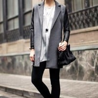 Open Front Worsted Trench Coat with Contrast Color Faux Leat