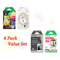Instax Film White Black Colors 1111 Value Set Fujifilm Instax Mini Film White Monochrome Rainbow Macaroon Polaroid Instant Photos 40 Shots