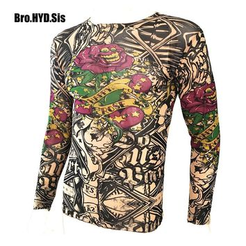 Funny Long Sleeve Fake Tattoo T Shirts All Over Print Men Women Arts Shirt Elastic Slim Fit Modal Thin Halloween Clothes