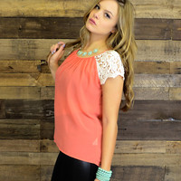 Mango Lace Sleeve Top