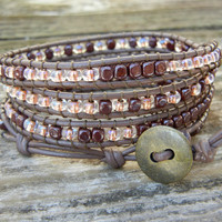 Beaded Leather 4 Wrap Bracelet with Chocolate Brown and Tan Czech Glass Beads on Brown Leather