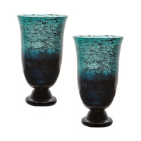 Lazy Susan Emerald Ombre Flared Vase - Set Of 2  - 876022/S2