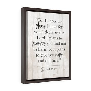 "Bible Verse Canvas Wall Art ""Jer. 29:11"" (Rustic - Framed)"