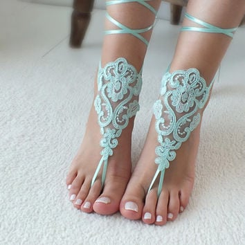 Mint lace barefoot sandals wedding barefoot Flexible wrist lace sandals Beach wedding barefoot sandals beach Wedding sandals Bridal