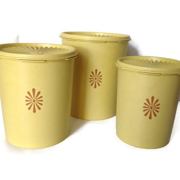 Set of three Tupperware Canisters Yellow Servalier