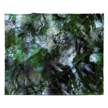 "Shirlei Patricia Muniz ""Camouflage"" Black Green Fleece Throw Blanket"