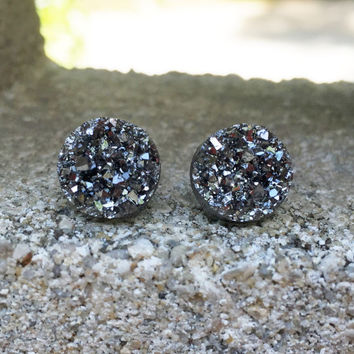 MONSTER SALE Earrings Druzy Stud Earrings Boho Jewelry Gunmetal 12MM