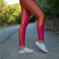 Handmade Orange - Fuschia Leggings Athletic Bottoms Sports Pants Stretch Leggings Spandex Fabric Sexy Leggings Thanksgiving Halloween Gift