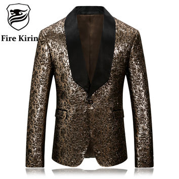 Gold Blazer For Men Slim Fit Mens Floral Blazer Stage Costumes For Singers Vintage Party Wear Casual Suit