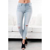 Spring Forward Distressed Nature Jeans (Light Wash)