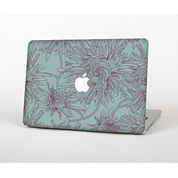 The Teal Aster Flower Lined Skin Set for the Apple MacBook Pro 13""