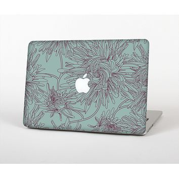 The Teal Aster Flower Lined Skin Set for the Apple MacBook Pro 15""