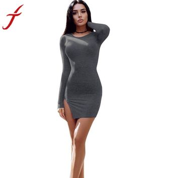 Women's Elastic Celebrity Bandage Dress Bodycon Mini Club Party Dresses Long Sleeve Party Evening Short Dress