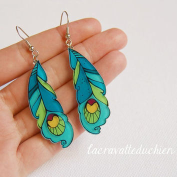 Peacock feathers earrings,  dangle earrings, illustrated jewelry
