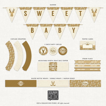 Woodland Deer Baby Shower Decorations – Gender Neutral – Printable Party Kit by Squawk Box Studio