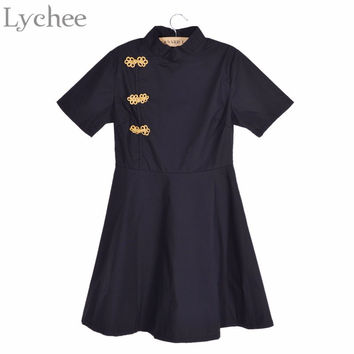 Vintage Chinese Style Cheongsam Qipao Dress Short Sleeve Gothic Lolita Slim A-Line Short Women Dress