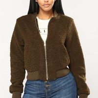 Aubrey Collarless Jacket - Olive