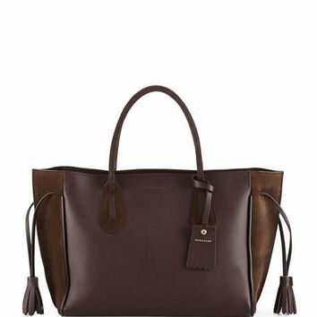 Longchamp Penelope Medium Leather & Suede Tote Bag, Ebony