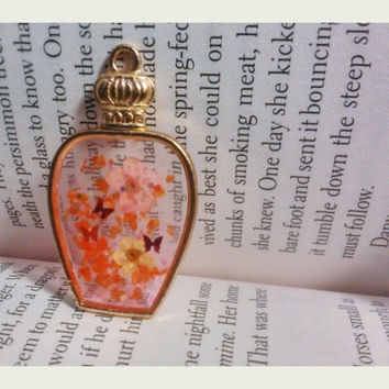 Handmade Resin Jewelry - Butterfiles with Japanese apricot - Resin Pendant - Necklace Charm