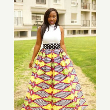 LABOUR DAY SALE New Pooka dot African print skirt.